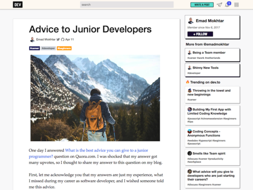Image for: Advice to Junior Developers