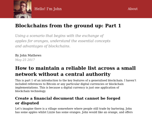 Image for: Blockchain from the Ground Up: Part 1