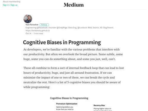 Image for: Cognitive Biases in Programming