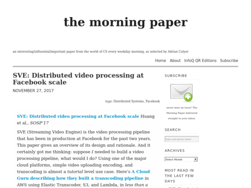 Image for: Distributed Video Processing at Facebook Scale